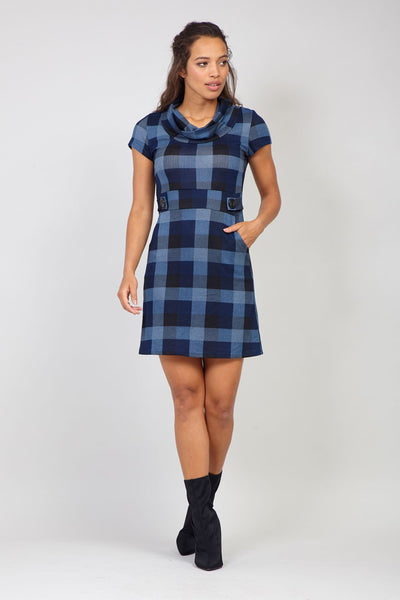 Navy | Checked Knit Tunic Dress