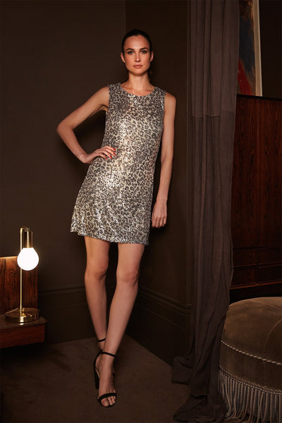 Silver | Sequin Animal Print Dress