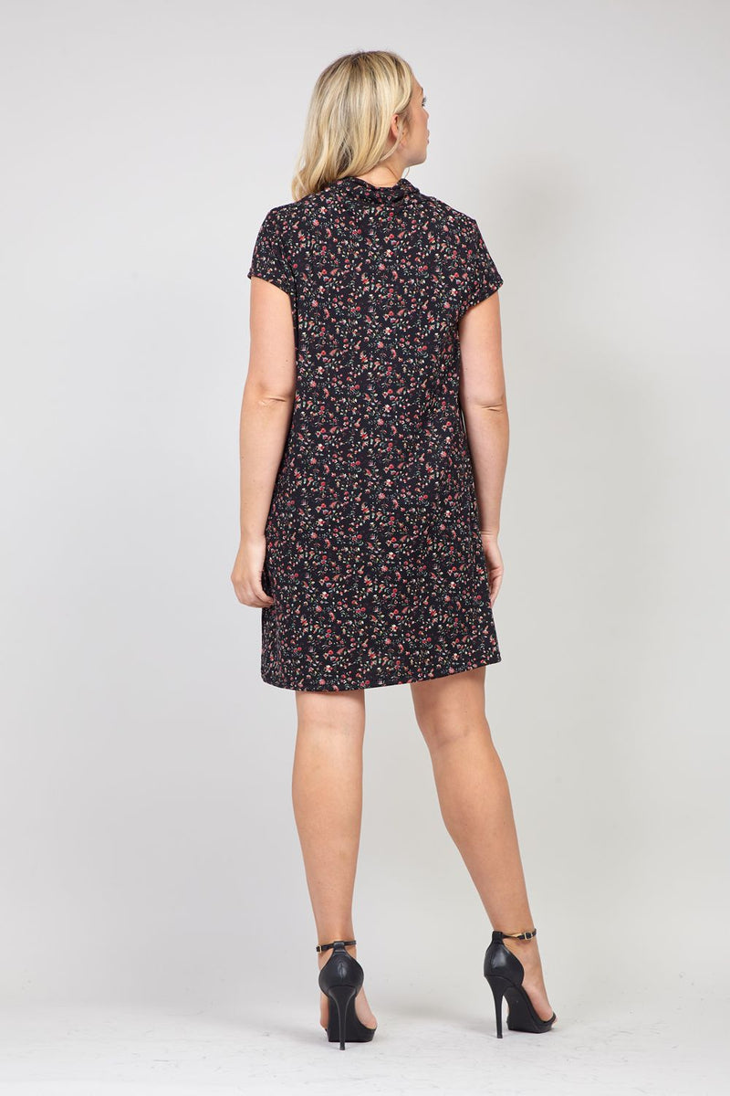 Black | Curve Floral Tunic Knitted Dress