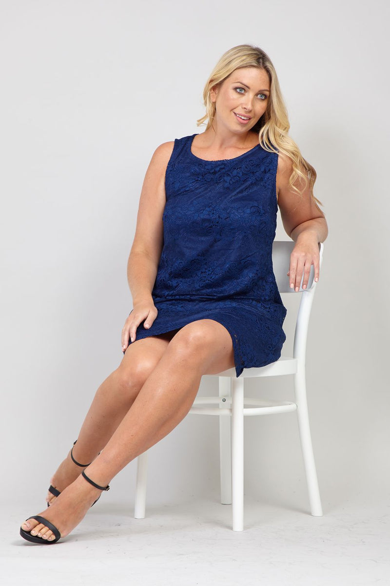 Navy | Curve Floral Lace Shift Dress