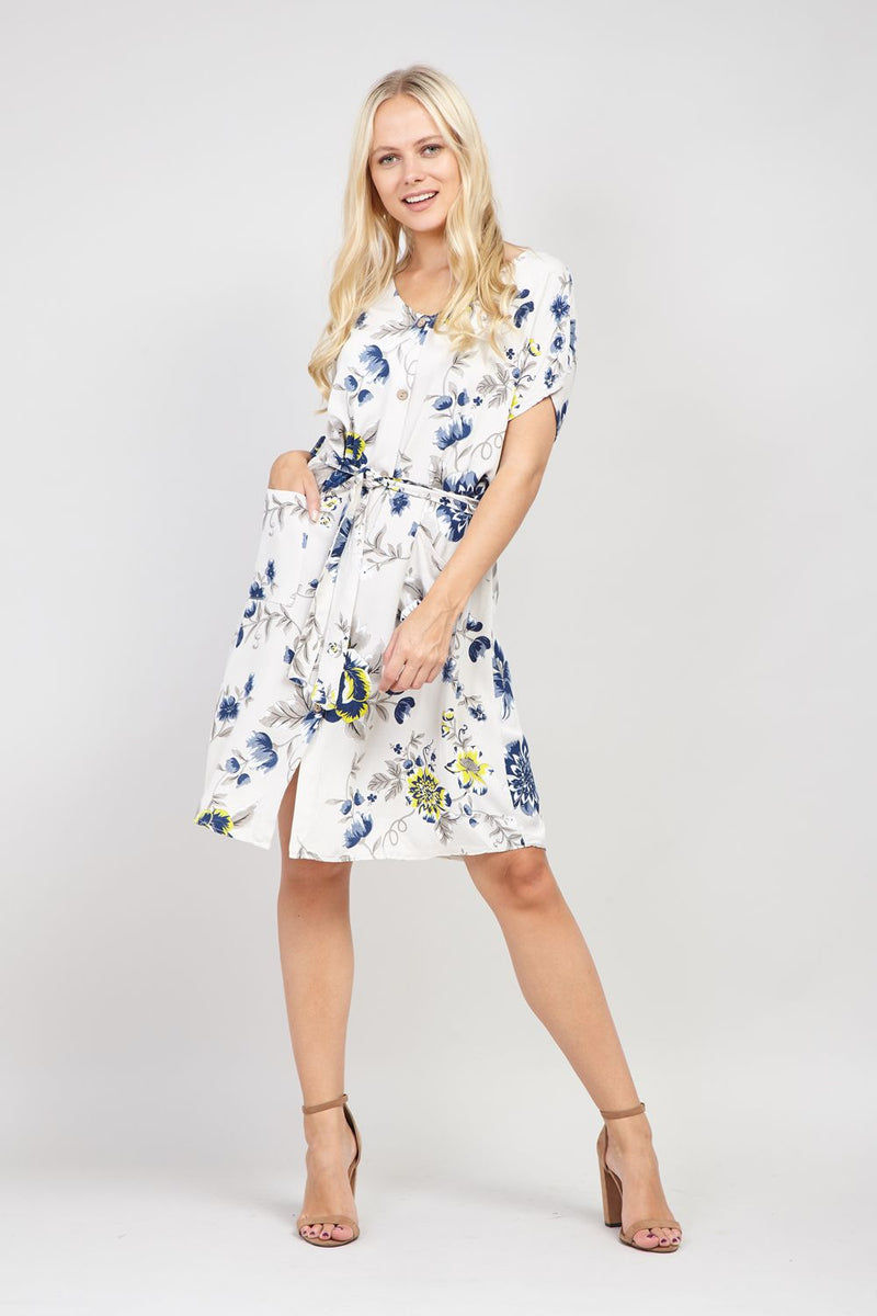 Stone | Floral Button Front Dress