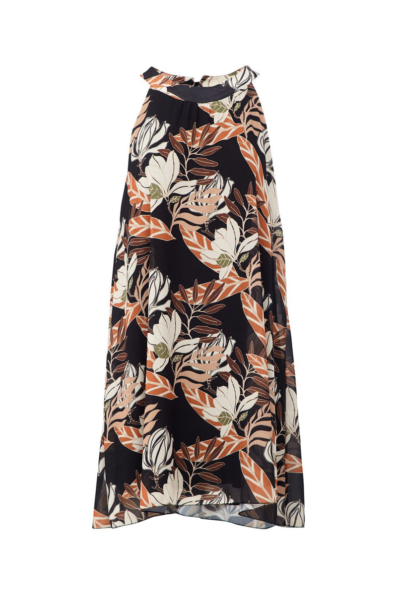 Black | Leaf Print Shift Dress