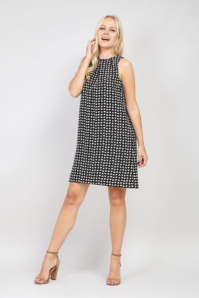 Black | Heart Print Shift Dress