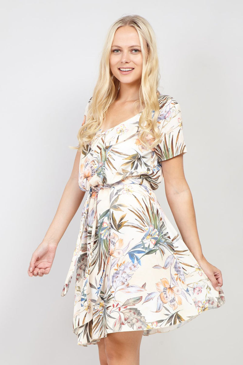 Cream | Floral Wrap Skater Dress