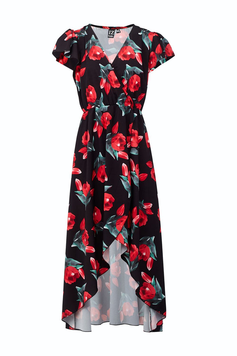 Black | Floral Wrap Maxi Dress