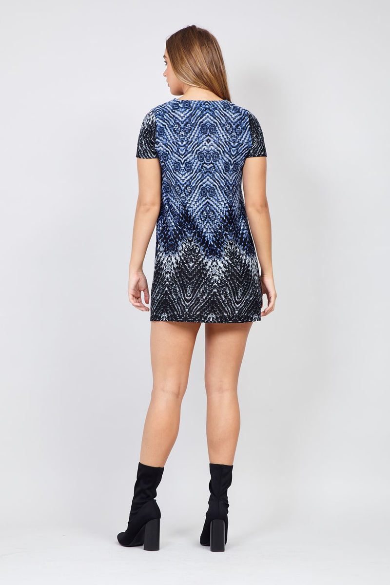 Blue | Tribal Print Shift Dress