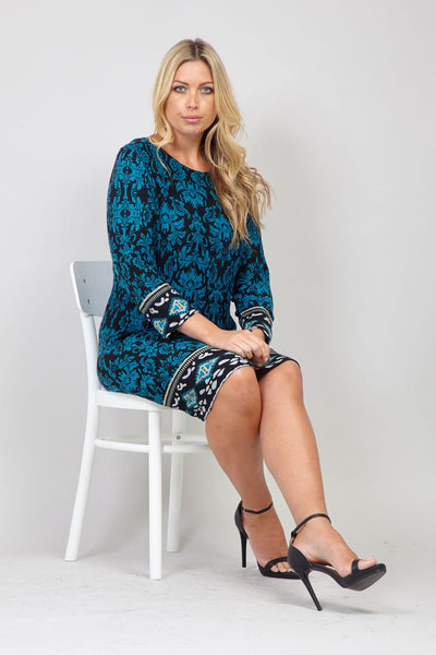 Blue | Curve Damask Print Shift Dress