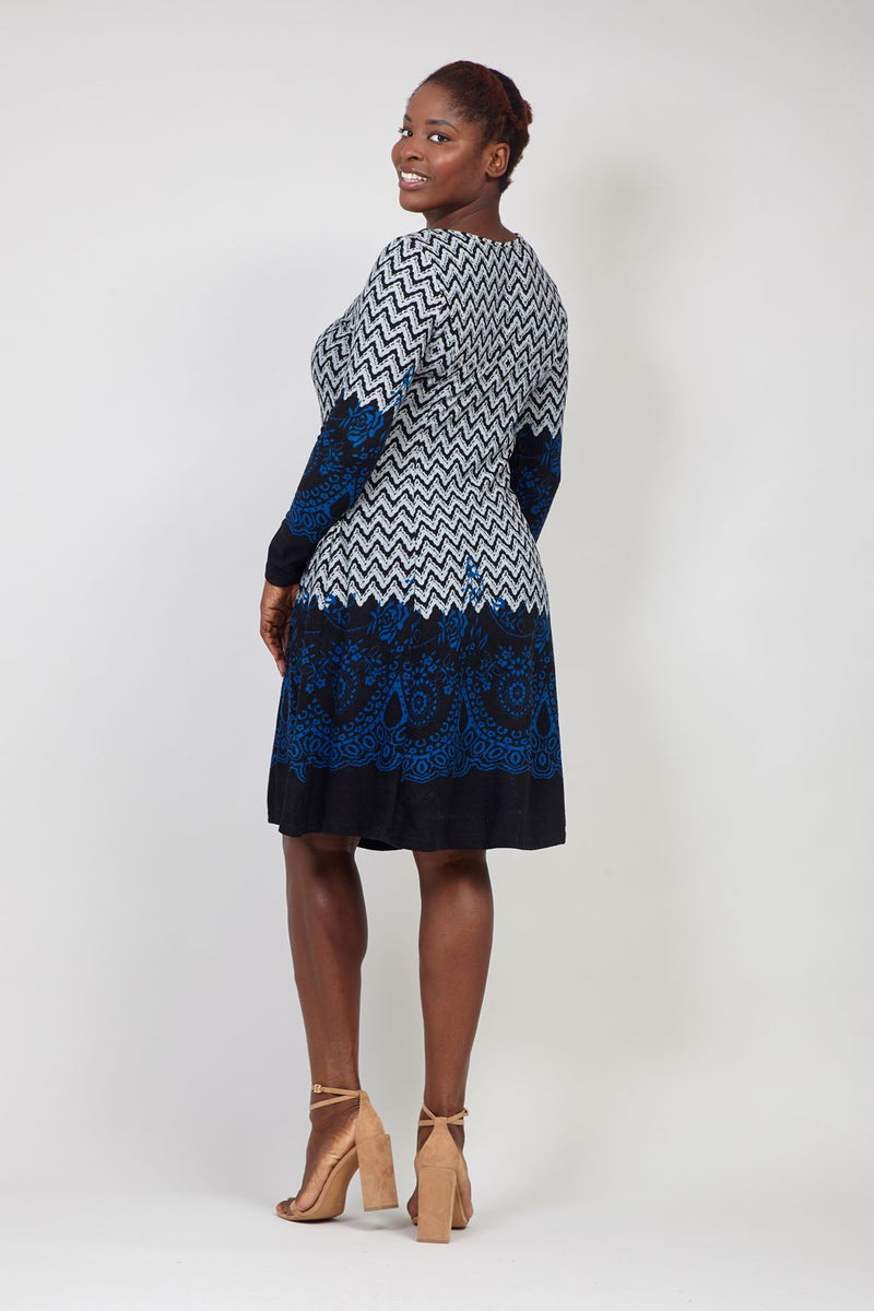 Grey | Chevron Print Knitted Dress