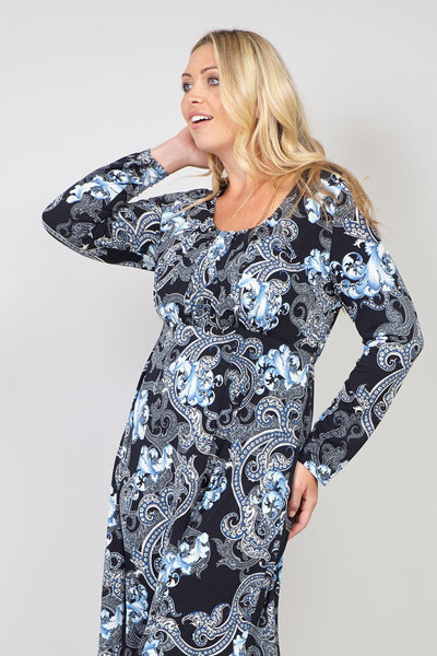 Black | Curve Wallpaper Print Tunic  Dress