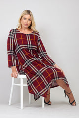 Red | Curve Checked Knit Swing Dress