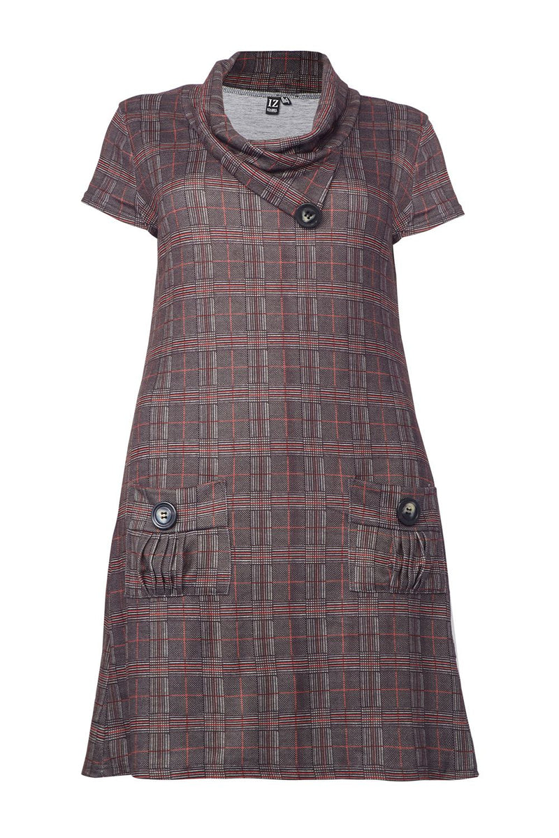 Grey | Curve Checked Cowl Neck Tunic Dress