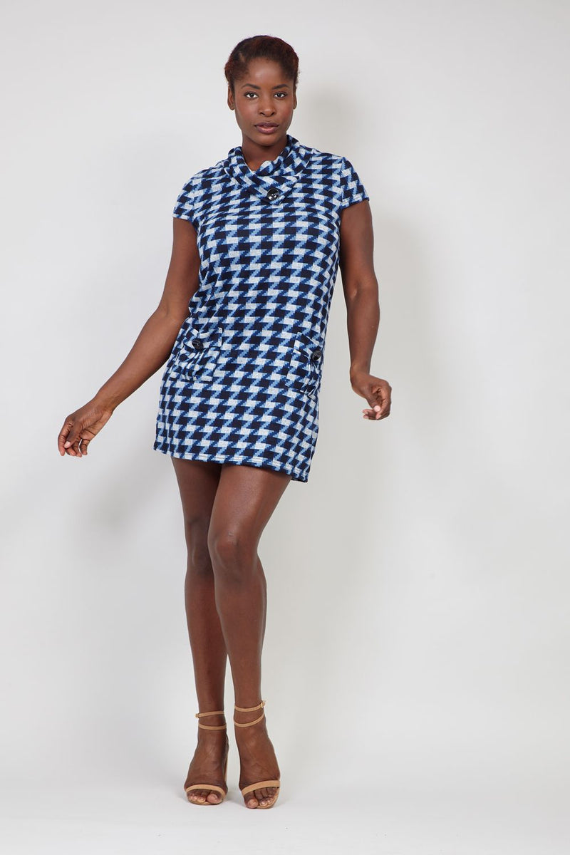 Blue | Checked Knitted Roll Neck Dress