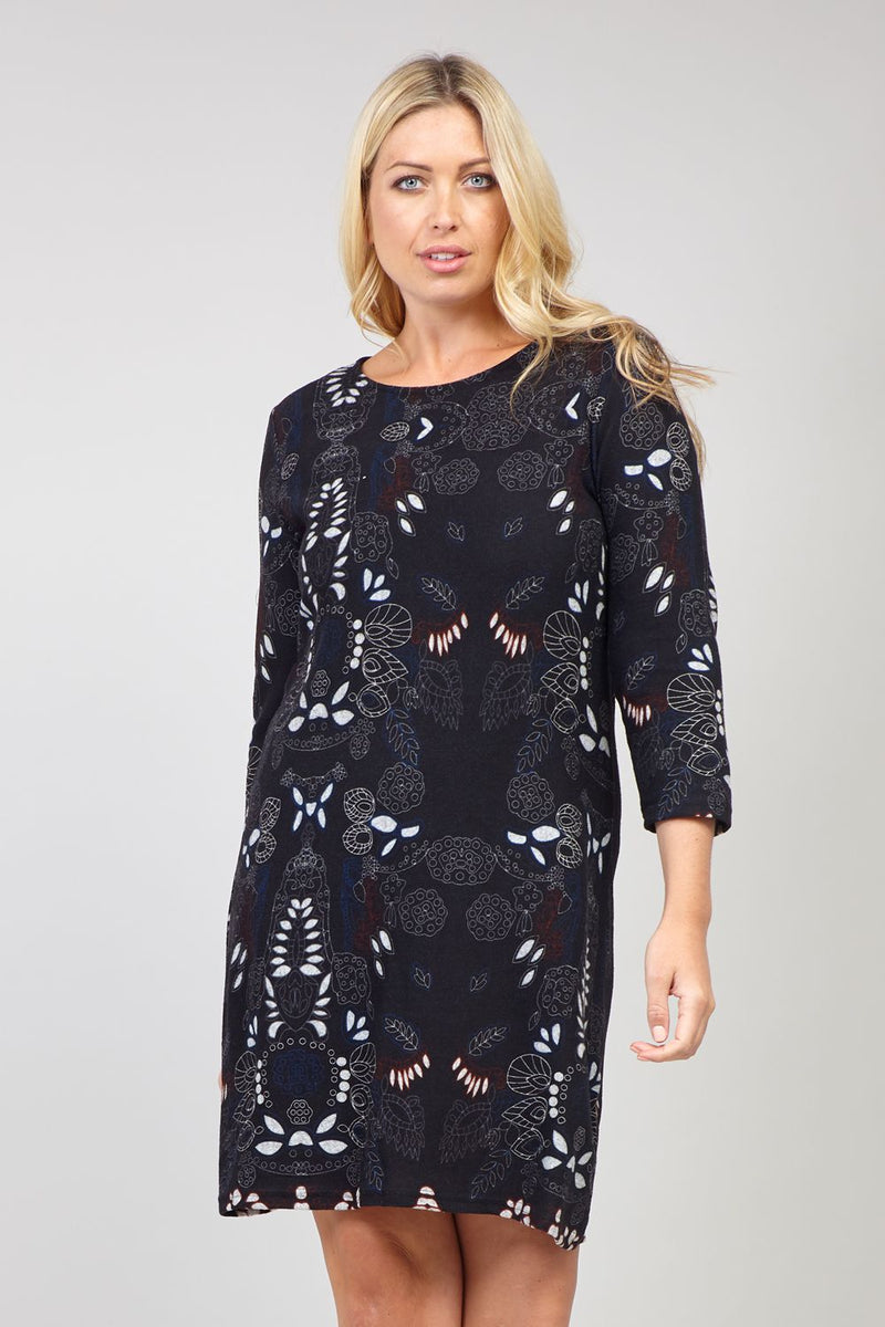 Black | Curve Abstract Knitted Dress