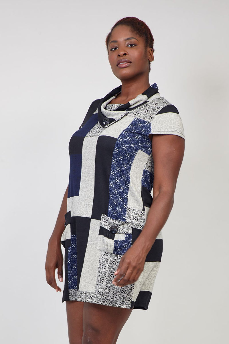 Navy | Patchwork Knitted Dress