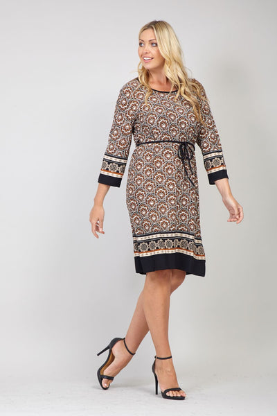 Brown | Curve Geo Print Shift Dress