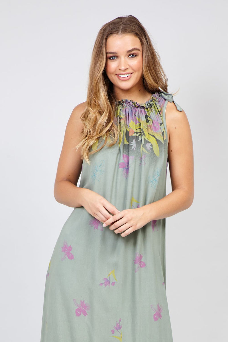 Khaki | Floral Border Maxi Dress