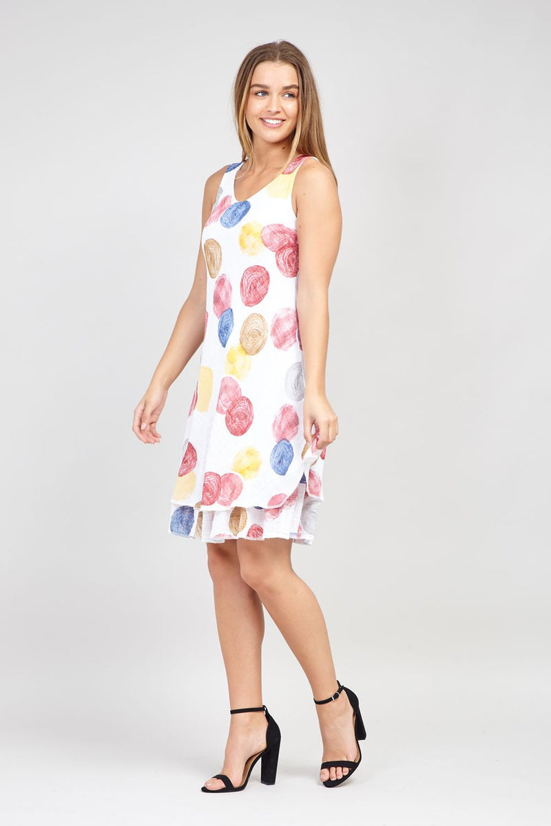 White | Polka Dot Layered Dress