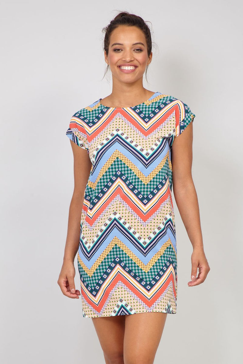 YELOW/GREEN | Zig Zag Mixed Print Shift Dress