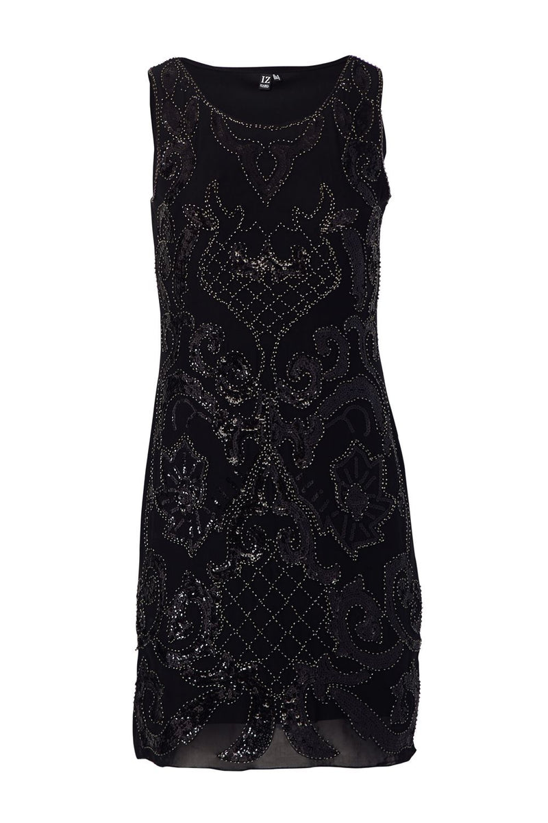 Black | Sequin Damask Print Dress
