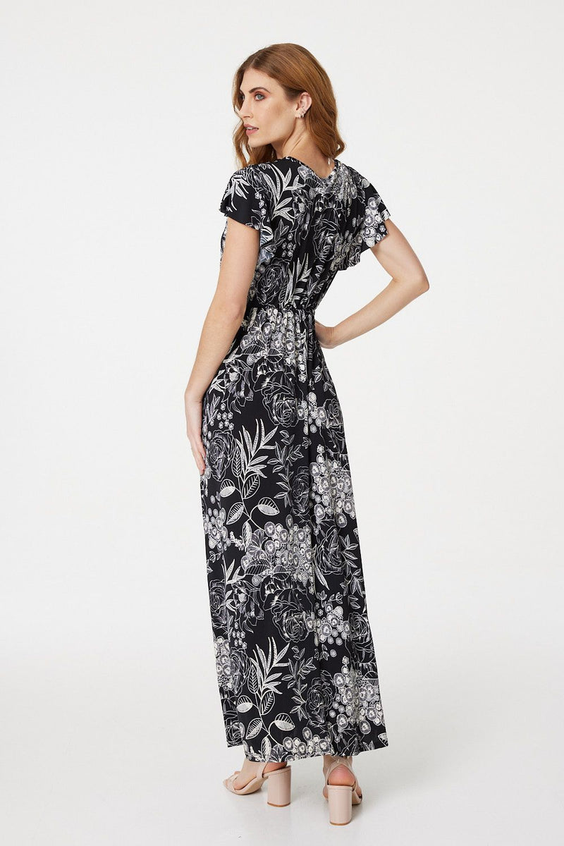 Black | Monochrome Floral Maxi Dress
