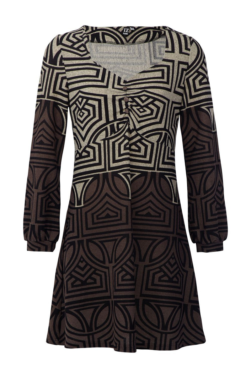 Beige | Geo Print Tunic Dress