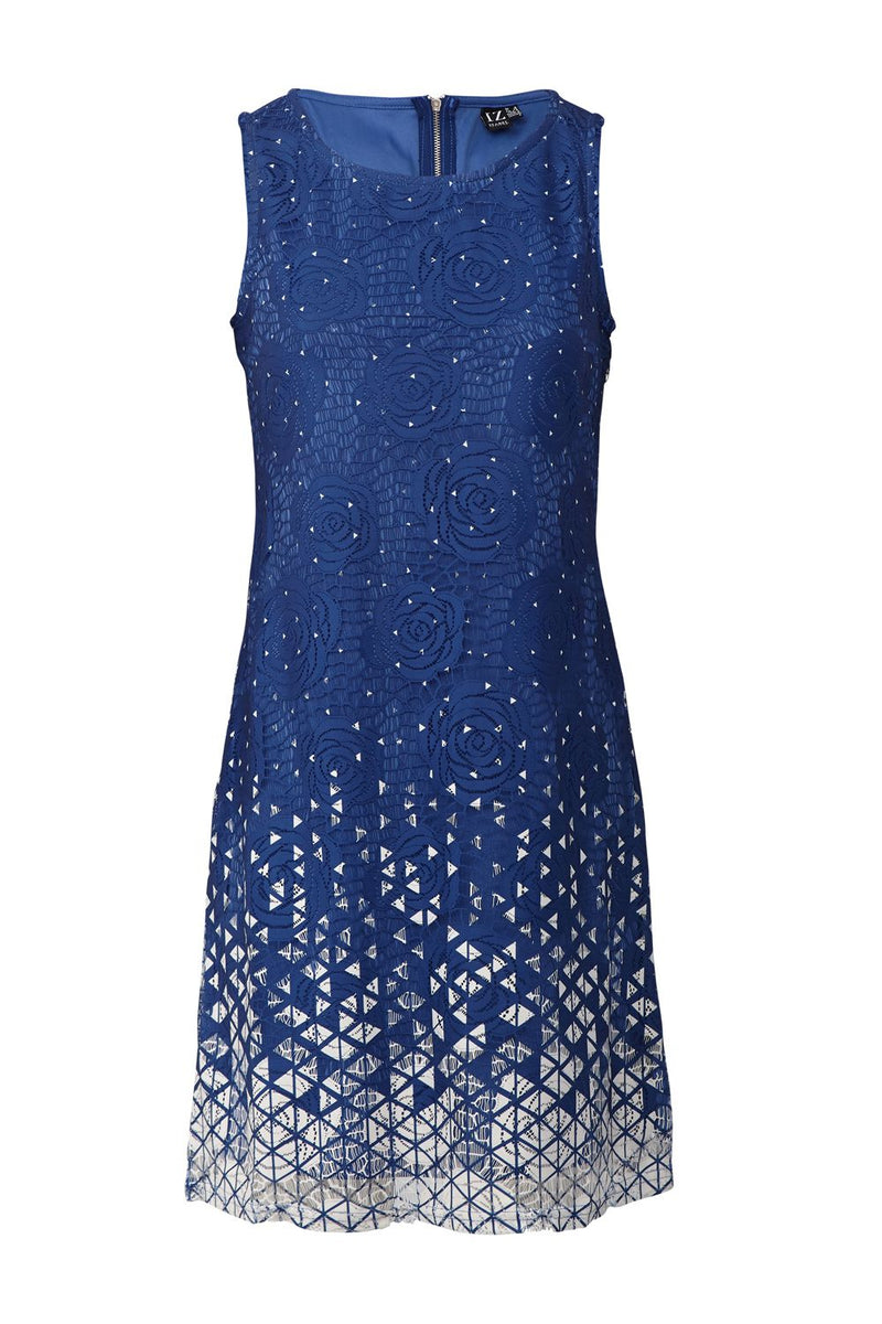Blue | Floral Lace Overlay Dress