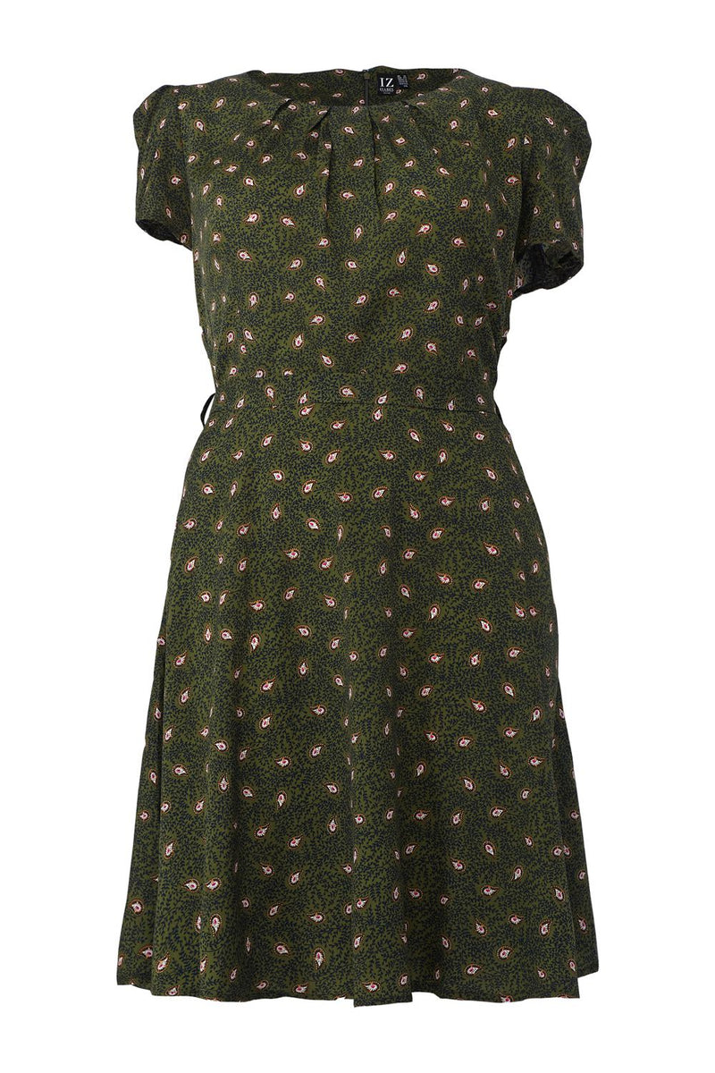 Green | Curve Ditsy Print Tea Dress