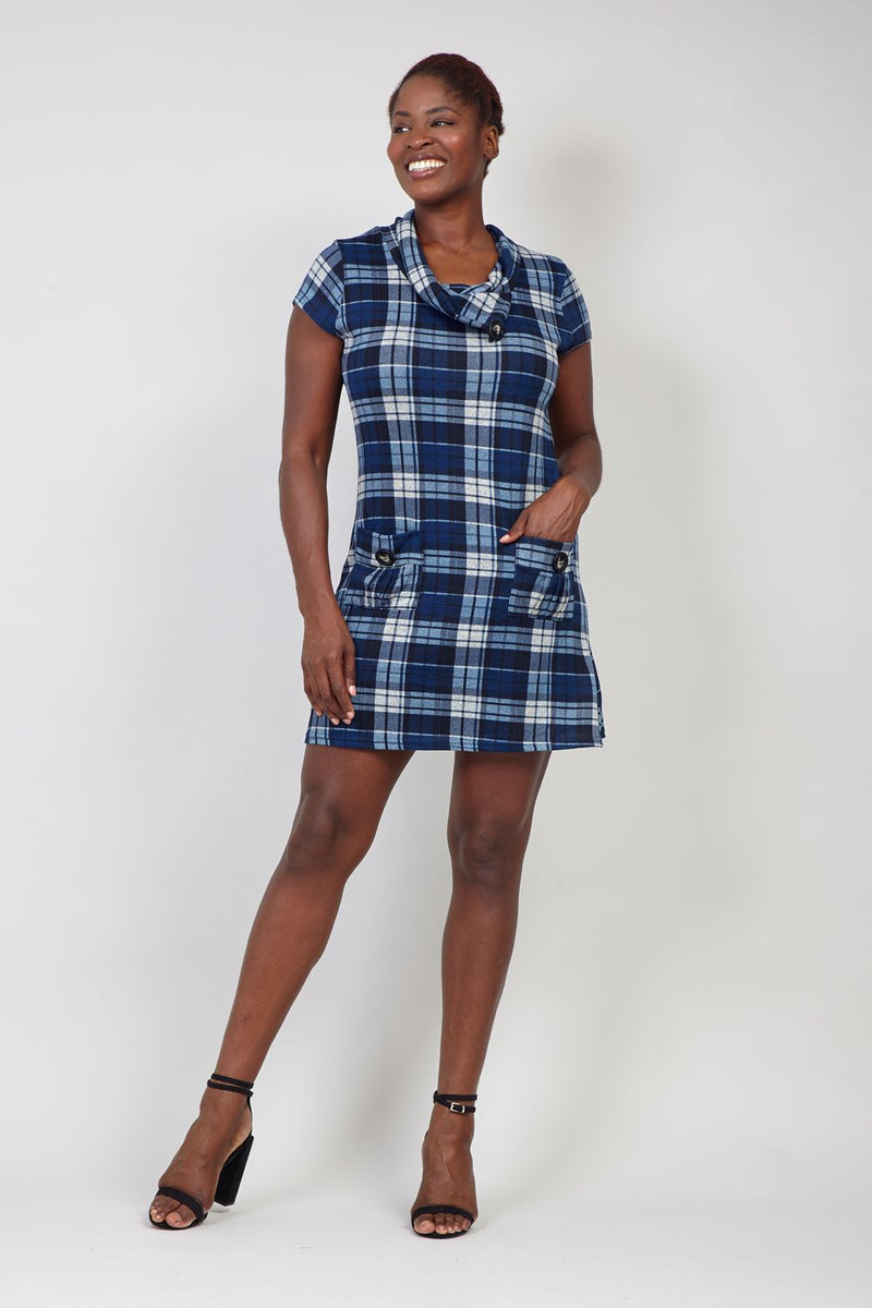 Navy | Checked Tunic Dress