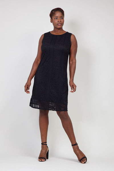 Black | Curve Aztec Lace Shift Dress