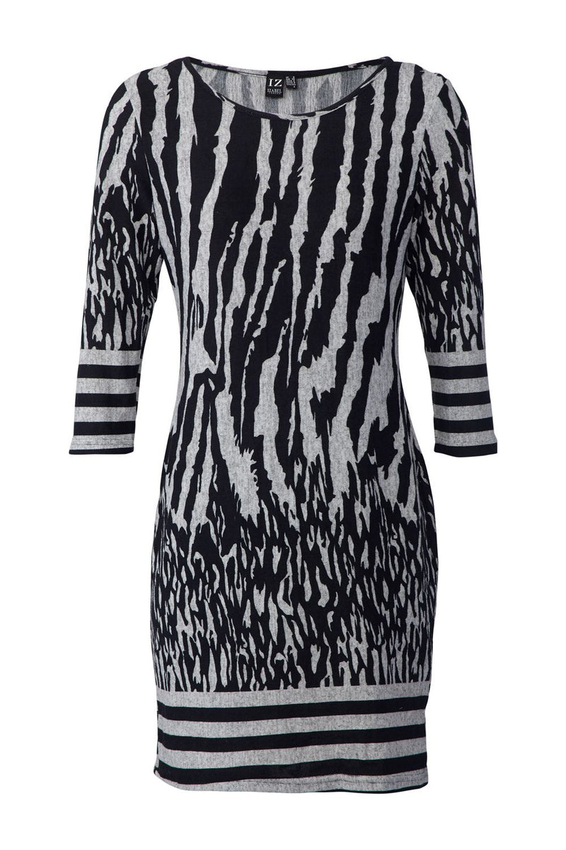 Black | Zebra Print Knitted Dress