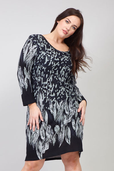 Grey | Curve Leaf Print Knitted Dress