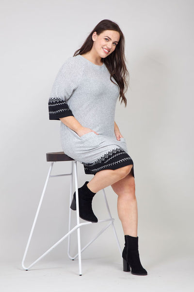 Grey | Curve Aztec Hem Knitted Dress