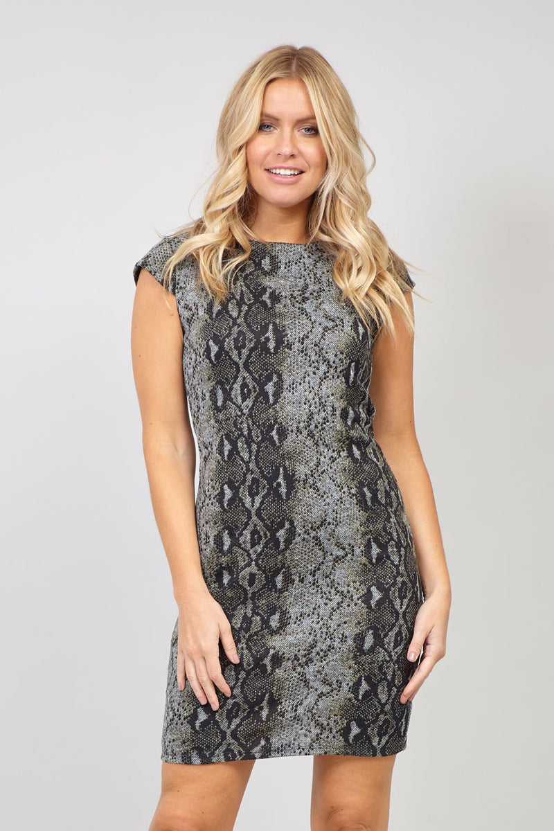 Grey | Snake Print Knitted Dress