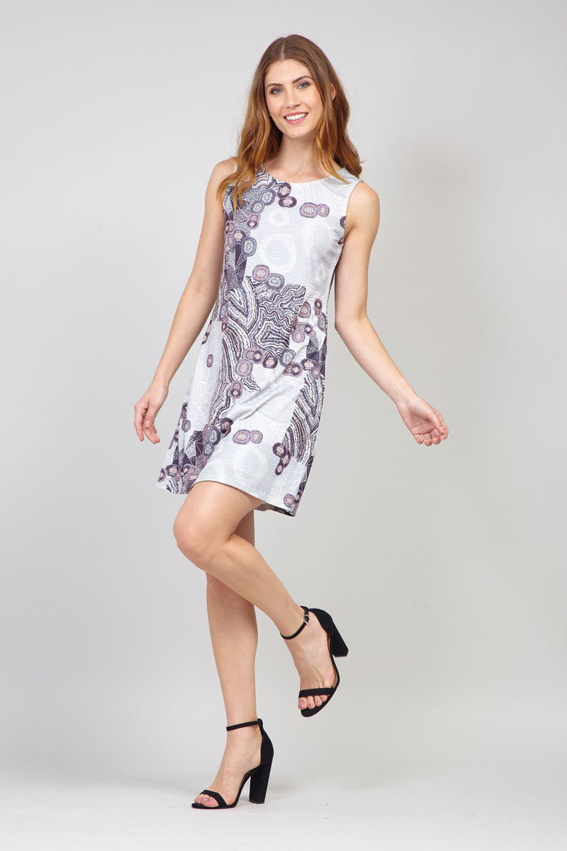 Grey | Abstract Print Shift Dress