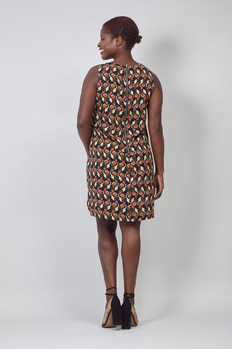 Navy | Curve Geo Print Shift Dress
