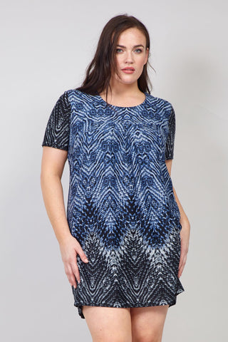 Curve Border Print Knitted Dress