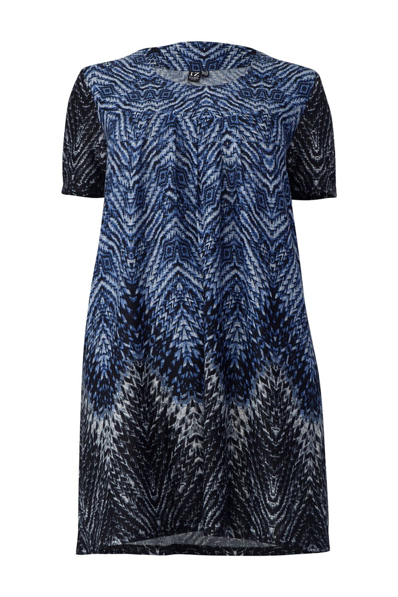 Blue | Curve Abstract Knitted Tunic Dress