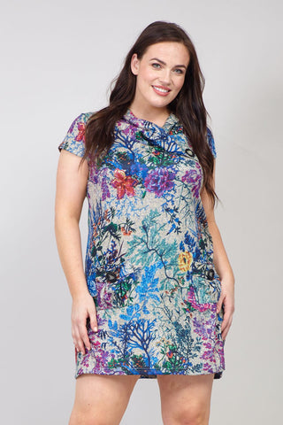 Ditsy Floral Cross Front Tunic Top