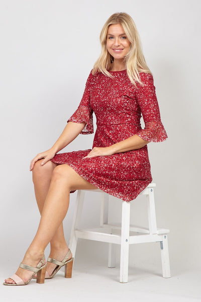 Red | Ditsy Floral Lace Skater Dress