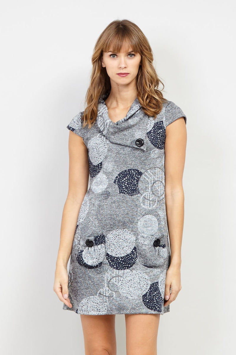 Grey | Circle Print Tunic Dress