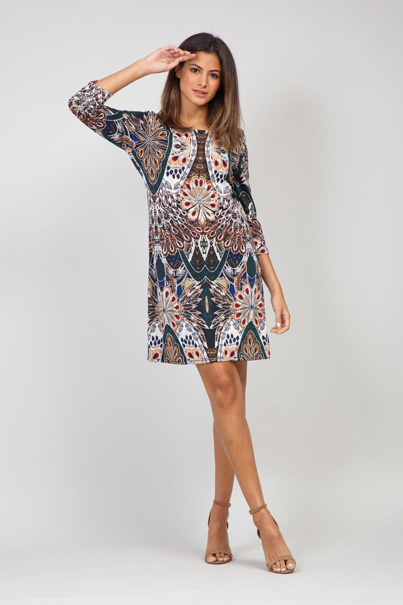 Green | Peacock Print Shift Dress