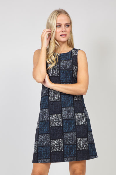 Grey | Checked Print Shift Dress