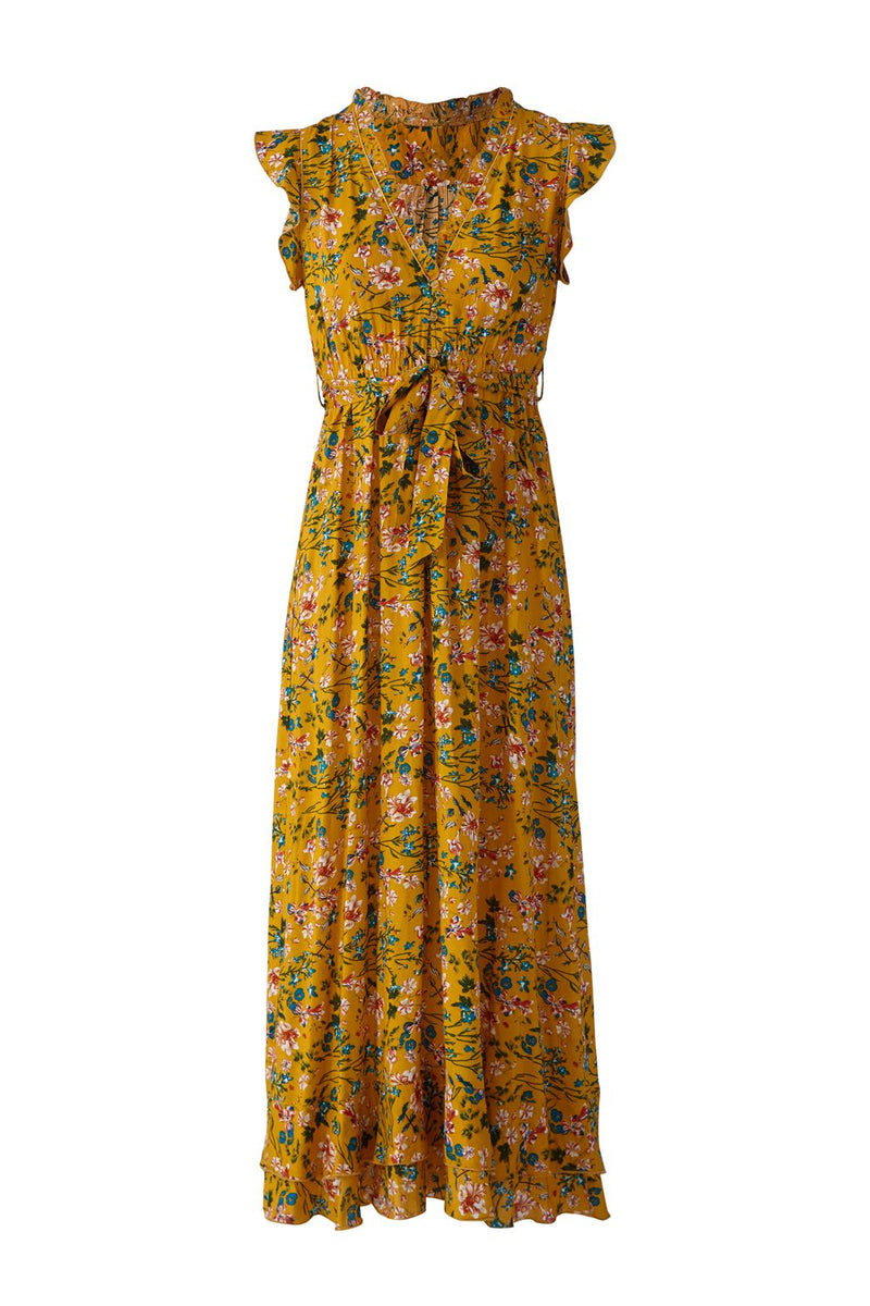 Yellow | Floral Print Midi Dress