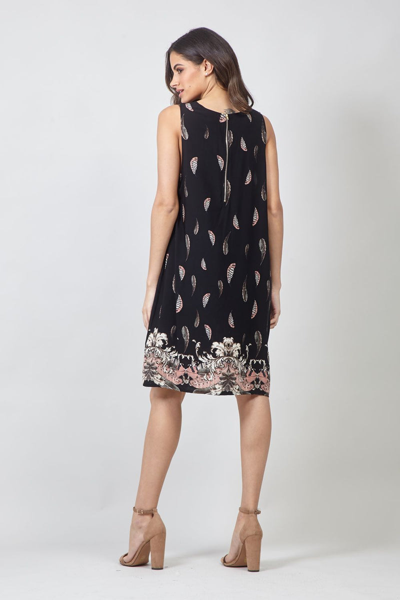 Feather Print Shift Dress