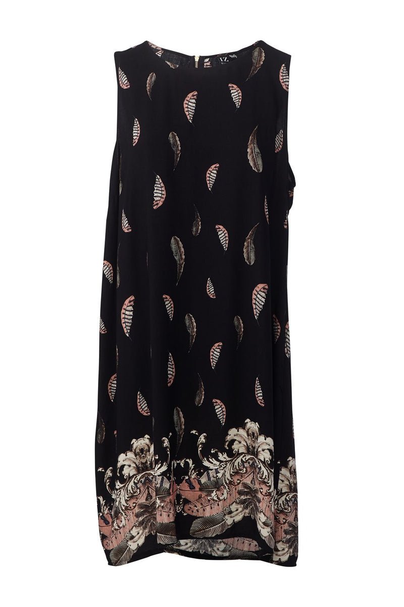 Black | Feather Print Shift Dress