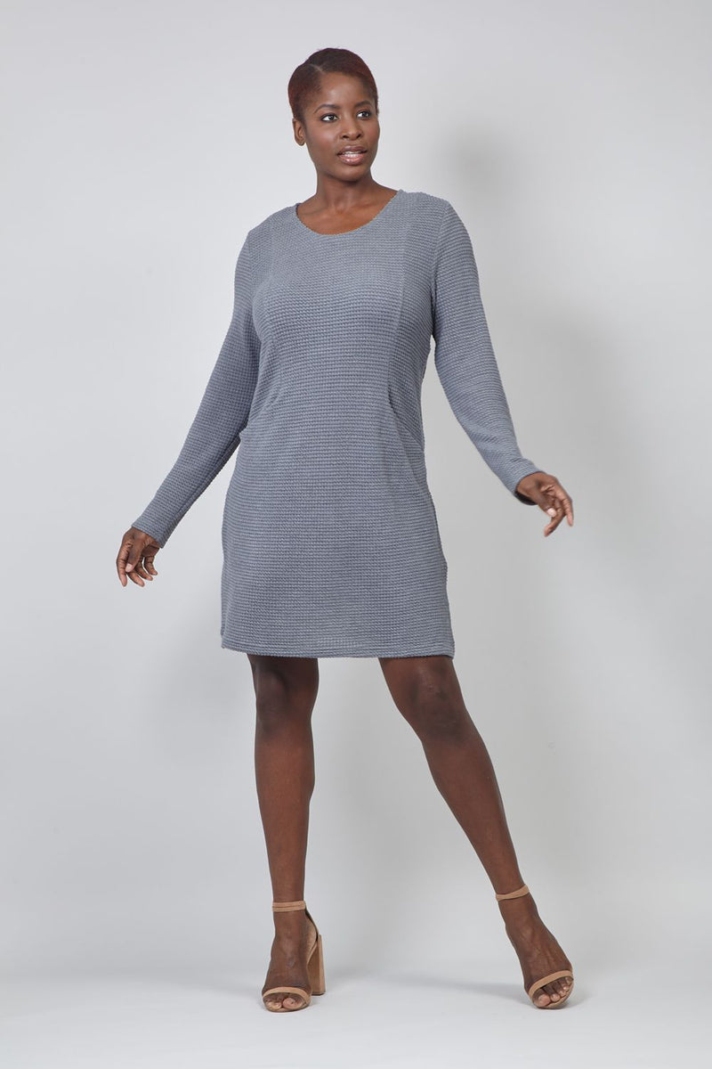 Grey | Curve Long Sleeve Knitted Dress