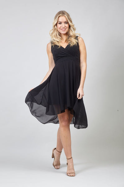 Black | Tie Waist Skater Dress