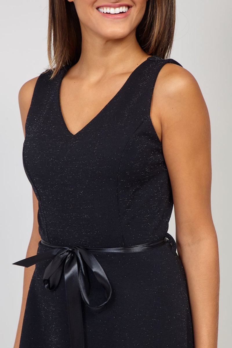 Black | Wrap Front Skater Dress