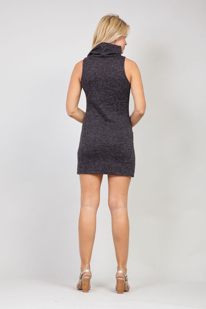 Grey | Knitted Roll Neck Dress