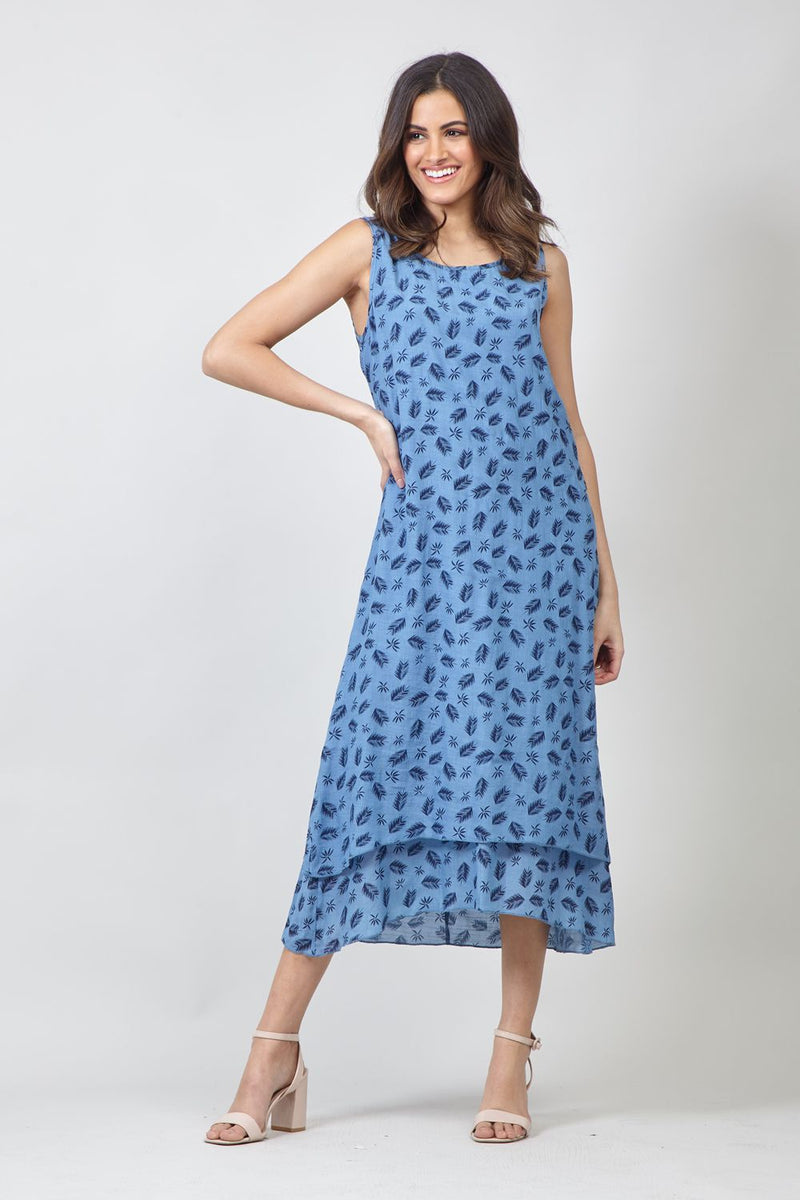 Blue | Feather Print Tunic Dress